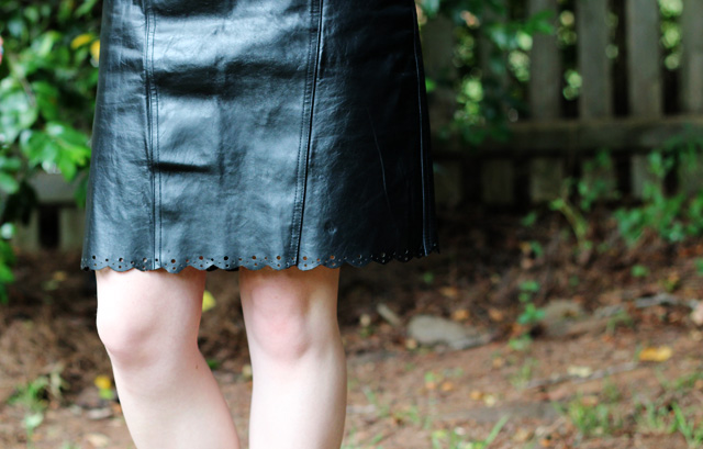Black Leather Scalloped Pencil Skirt