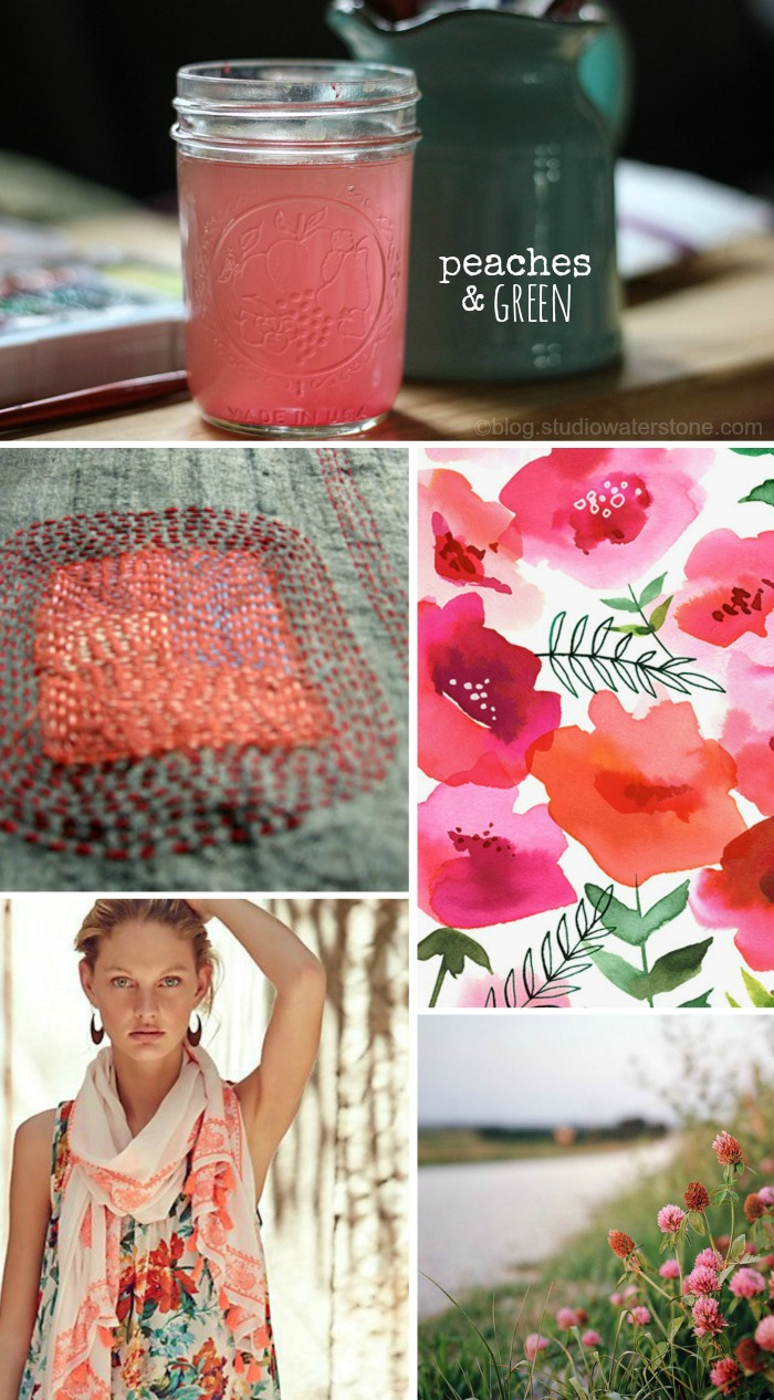 Paint Water Color Inspiration: Peaches & Green