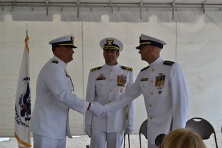 Chief Warrant Officer Thad Wagner relieved Chief Warrant Officer Nick Frascella as the commanding officer of the Coast Guard Cutter Kankakee in an official change-of-command ceremony, July 27, 2014. The change-of-command ceremony is a time-honored tradition and deeply rooted in Coast Guard and Naval history. The event signifies a total transfer of responsibility, authority and accountability for the command. (U.S. Coast Guard photo courtesy of Coast Guard Sector Lower Mississippi River)