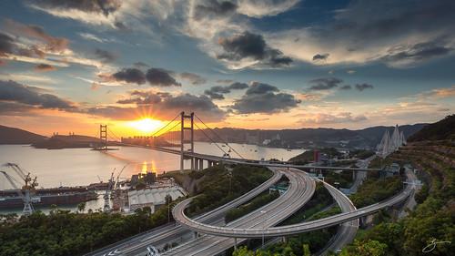 city bridge sunset canon landscape hongkong cityscape sunstar tsingyi 5dmarkiii