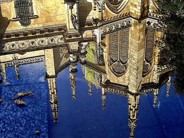 Reflection on the floor of the pinnacles of the Cathedral of Leon.
