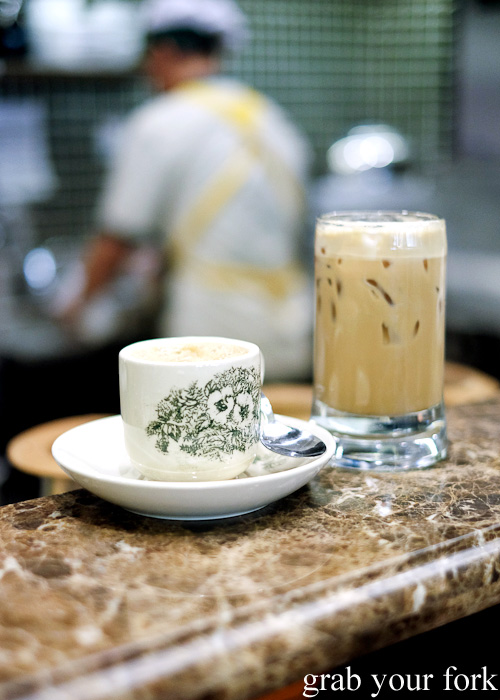 Malaysian coffee in traditional kopitiam cup at Pappa Rich, Broadway