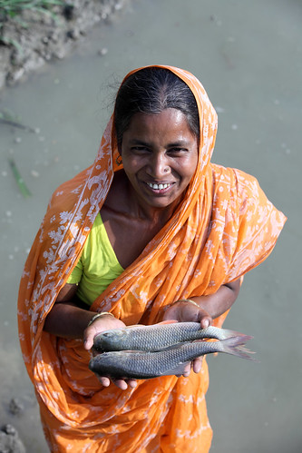 A woman showing fish caught from pond in Khulna, Bangladesh. Photo by M. Yousuf Tushar. April 16, 2014