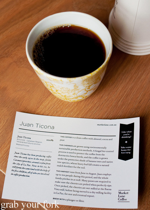 Juan Ticona pour over coffee at Market Lane Coffee in Carlton, Melbourne