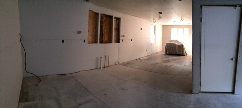 kitchen and dining room: drywall hung