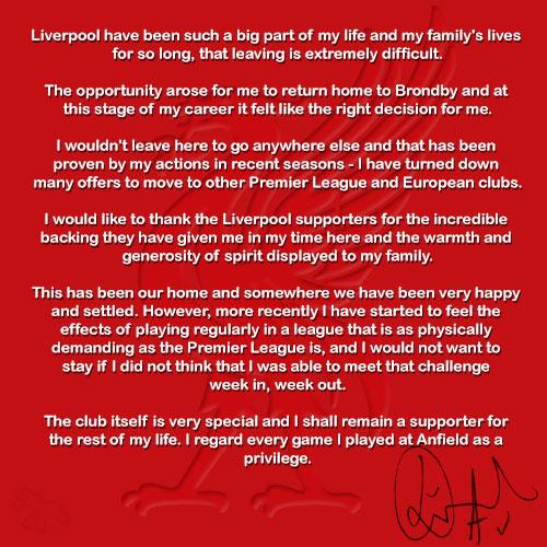 Daniel Agger Farewell Letter
