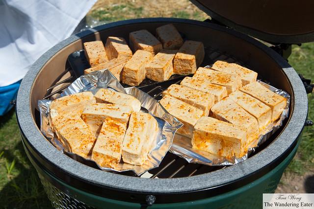 Chef smoking the tequila marinated tofu