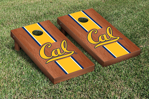 California Berkeley Golden Bears Cornhole Game Set Rosewood Stained Stripe Version