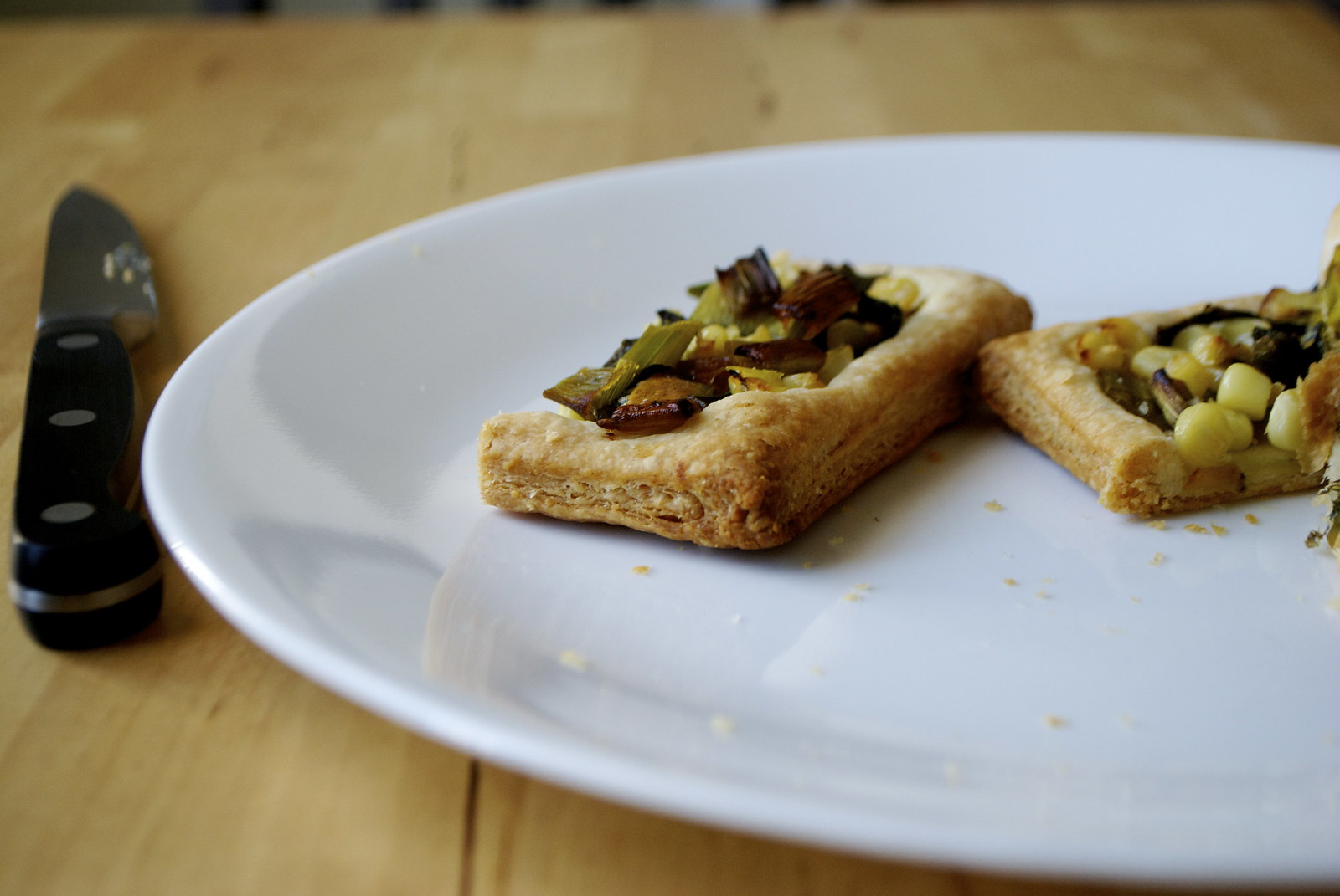puff pastry tart on a plate