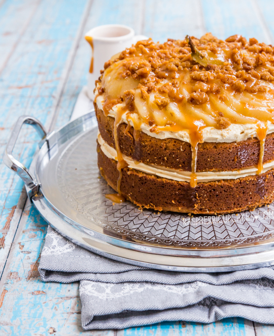 Caramel Mud Cake with Salted Caramel Icing, Crumble and Vanilla Poached Pears