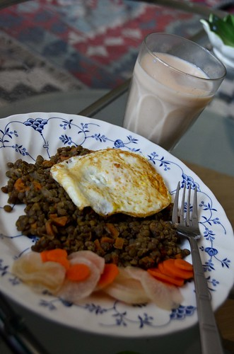 Lentils, Pickled Vegetables, and Iced Chai for Lunch