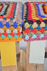 wood & wool stools