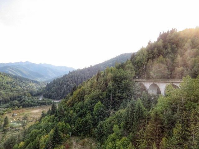 View from a dam bridge in Neamt, Romania