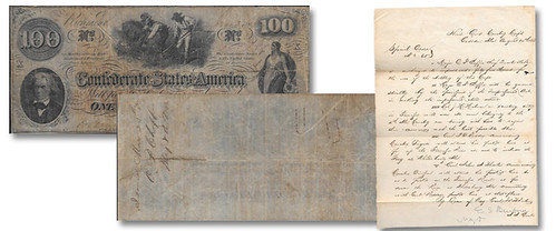Confederate Major Chaffee note and letter