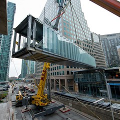 Another amazing shot of the #PATH skybridge installation at #OneYork and #HarbourPlaza this weekend! #SouthCore #Toronto #LifeStoreys