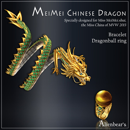 MeiMei Chinese Dragon Bracelet and ball Ring Jade