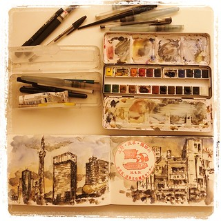 #japon #urbansketch #tools #tokyo #carbon #platinum #watercolor