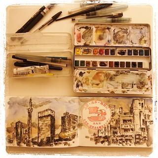 #japon #urbansketch #tools #tokyo #carbon #platinum #watercolor