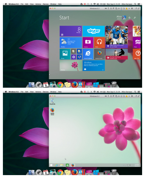 Windows 8 as a window on Mac with Parallels Desktop