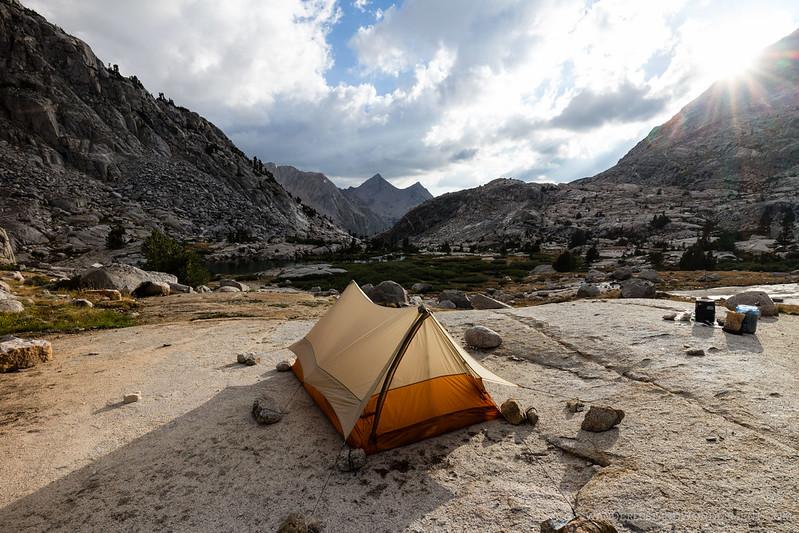 Our camp at lower Palisade lake