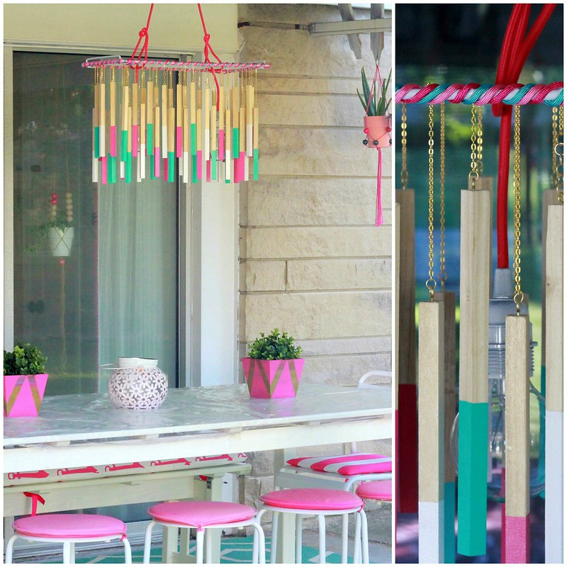 how to make a diy color cord company wood dowel chandalier light via Kristina J blog tutorial