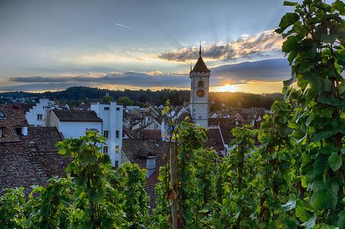 sunset schweiz switzerland evening abend vineyard sonnenuntergang sony schaffhausen nik alpha 77 hdr weinberg hdrefex slta77v sal1650f28