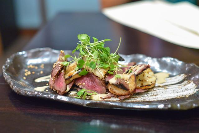 Grilled Miso Heart King Oyster Mushrooms, Yuzu Miso Vinaigrette