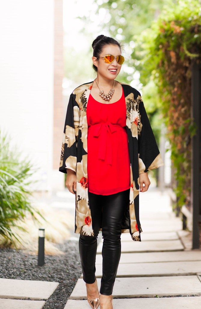 cute & little blog | petite fashion | maternity pregnant bump style | black floral kimono, red bow maternity tank, leather ponte pants, kate spade licorice pumps | second trimester 21 weeks
