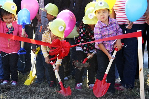 Students help break ground on their future Head Start building.