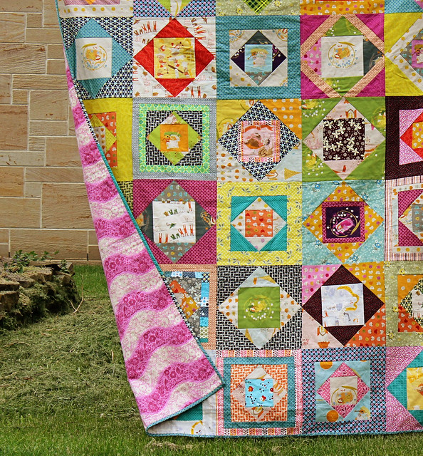 Economy Block Quilt backed in flannel