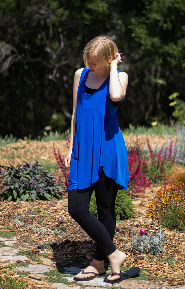 royal blue asymmetrical dress, made in Canada by Sympli