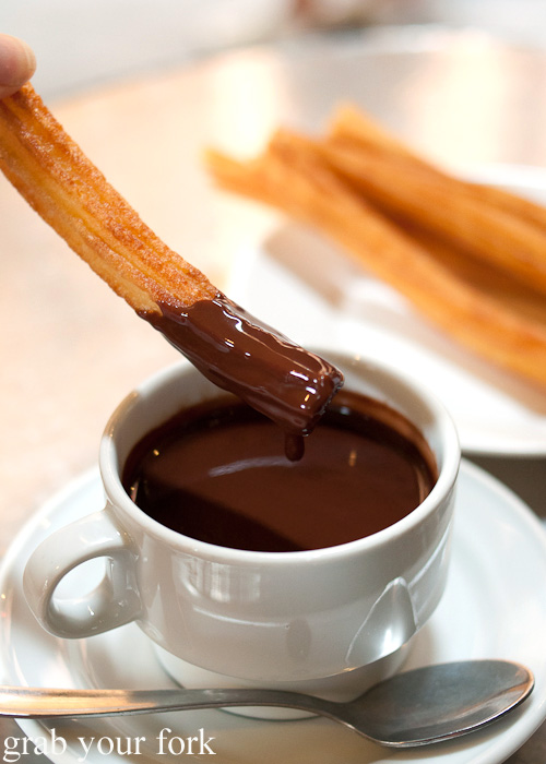 Spanish hot chocolate with churros from Chocolateria San Gines, Madrid, Spain