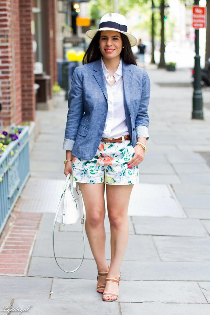 Floral shorts, chambray blazer, panama hat-1.jpg