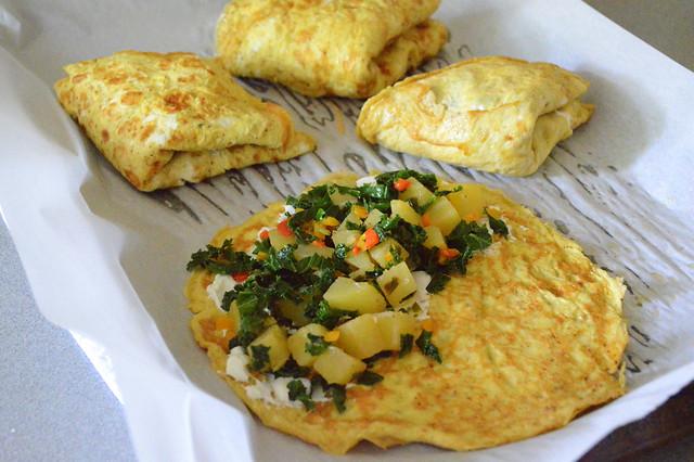 Southwestern potato & kale omelets