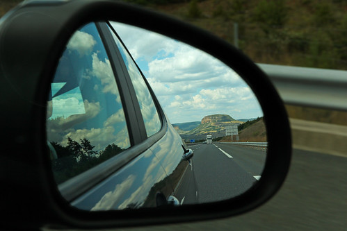 road france car june photoshop mirror highway europe rearviewmirror autobahn voiture route autopista freeway autoroute retroviseur miroir millau autostrada 2014 aveyron midipyrénées aguessac meteorry verrières peugeot308 saintbeauzély