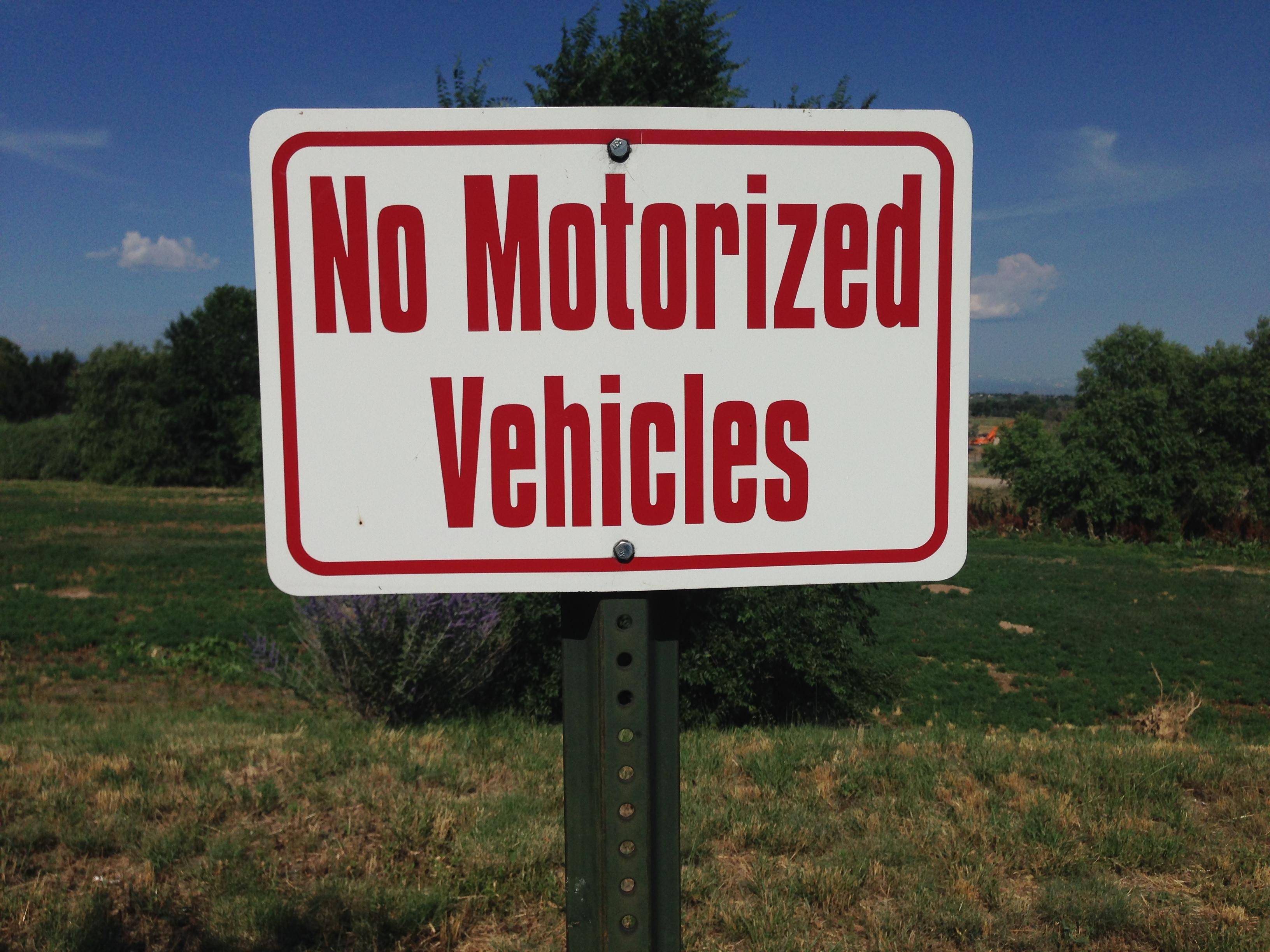 No Motorized Vehicles Sign
