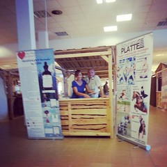 Kasia and Tedi setting up our stall at the Poznan health fair for www.todaherbal.co.uk
