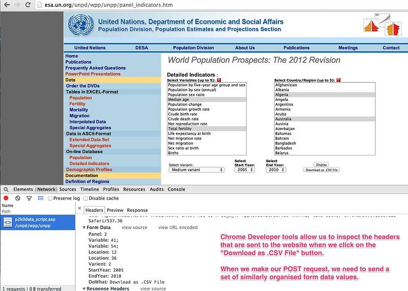 UN Population Data download request - form headers
