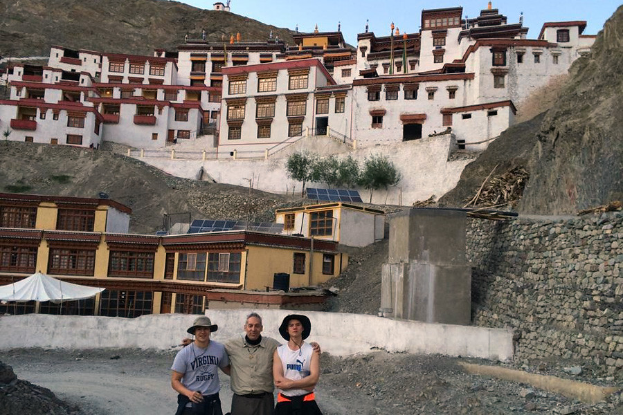 July 14, 2014 - Rising second-year Aidan Lee (CLAS '17), with friends Isaac and Nic Gould, in India in July 2014 for the Dalai Lama's 33rd Kalachakra Empowerment at Leh, Ladakh. Submitted by alum Mary Goodwin.