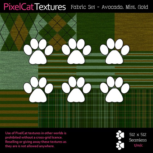 PixelCat Textures - Fabric Set - Avocado, Mint, Gold