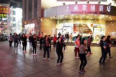 Line dancing by night on Nanjing Road