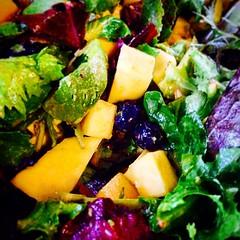 Supper salad... #eattherainbow #salad #nomnom #foodie #food #blueberries #mango #vegan #quornflour