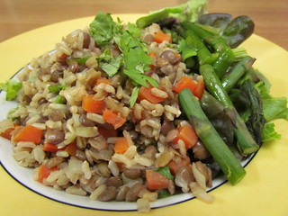 Brown Rice and Lentil Pilaf; Citrus Vinaigrette with asparag