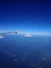 Mt Rainier visible while landing in Seattle