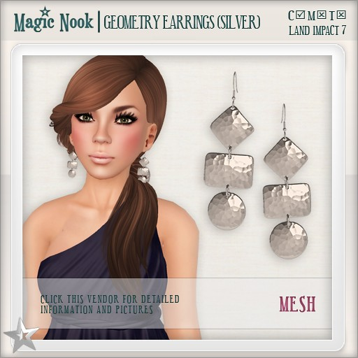 [MAGIC NOOK] Geometry Earrings (Silver) MESH