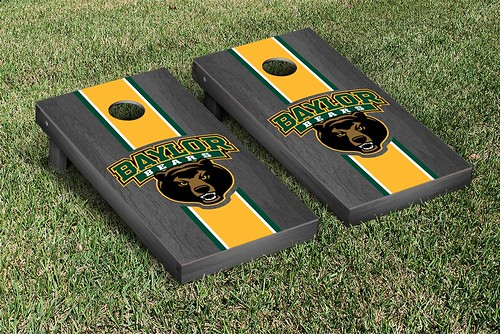 Baylor University Bears Cornhole Game Set Onyx Stained Stripe Version