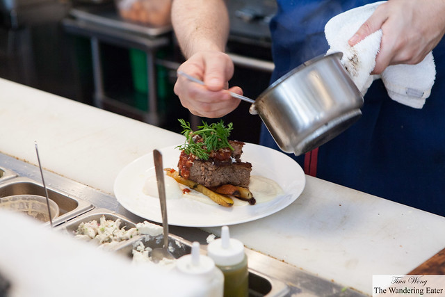 Plating Short rib Meatloaf & Eggs