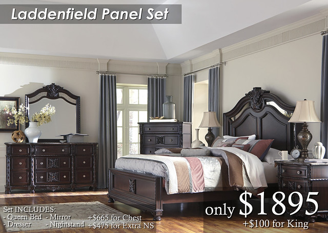 B717 Laddenfield Panel Set QN $1895 King $1995 Chest $665 Extra NS $475