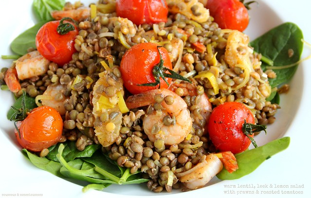 Warm Lentil,Leek & Lemon Salad with Prawns & Tomatoes 2