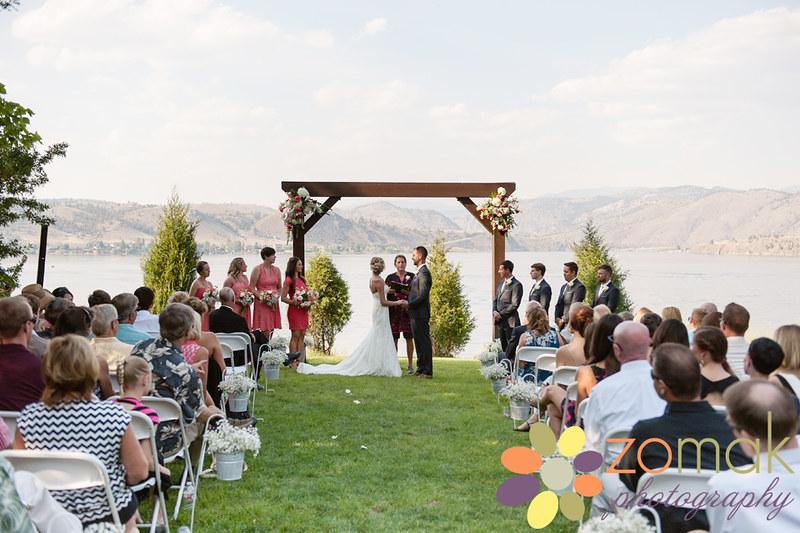 Wedding ceremony overlooking Hauser Lake in Helena, Montana.